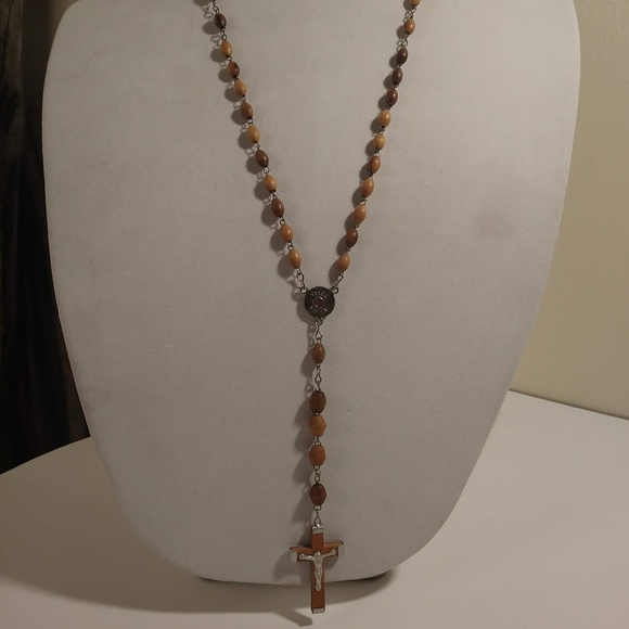 Unknown Jewelry - Caramel colored Wooden Bead Jerusalem Rosary